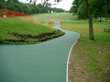 Wet pour rubber surfacing to buggy paths